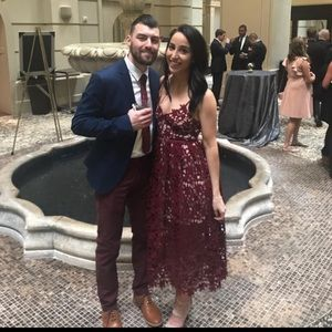 Beautiful Aqua burgundy cocktail dress